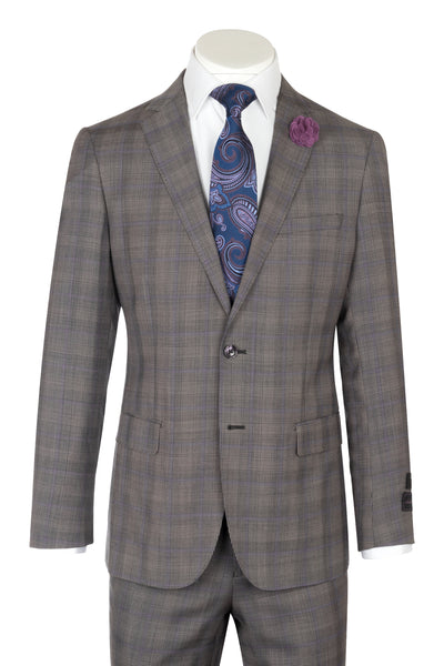 Porto Gray Glen check with purple windowpane  design, Slim Fit, Pure Wool Suit by Tiglio Luxe LR61002/3  Tiglio - Italian Suit Outlet