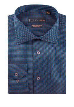 Brown and aqua blue squares Dress Shirt, Regular Cuff, by Tiglio Genova RC 503/15EE  Tiglio Luxe - Italian Suit Outlet