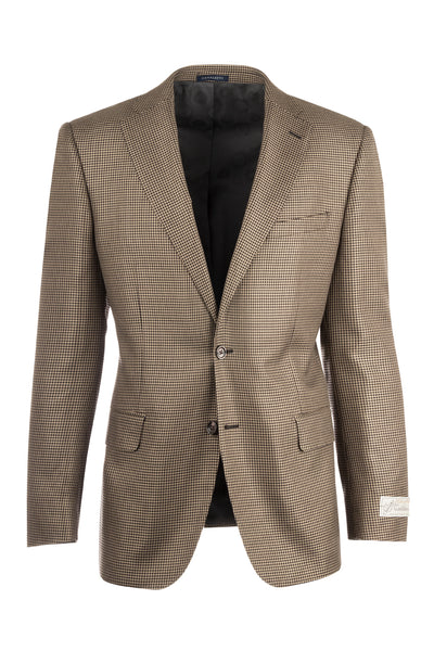 Dolcetto Tan and Black Houndstooth Pattern, Modern Fit, Silk & Wool Jacket by Canaletto Menswear 51172/2  Canaletto - Italian Suit Outlet
