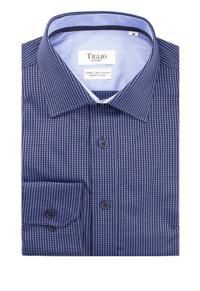 Navy with Light Blue Polka-Dot Pattern Modern Fit Sport Shirt by Tiglio Sport 538/459  Tiglio - Italian Suit Outlet