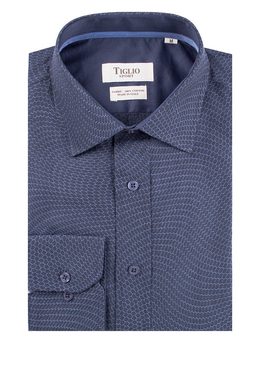 Navy with Blue Honeycomb Pattern Modern Fit Sport Shirt by Tiglio Sport 620/53/S3  Tiglio - Italian Suit Outlet