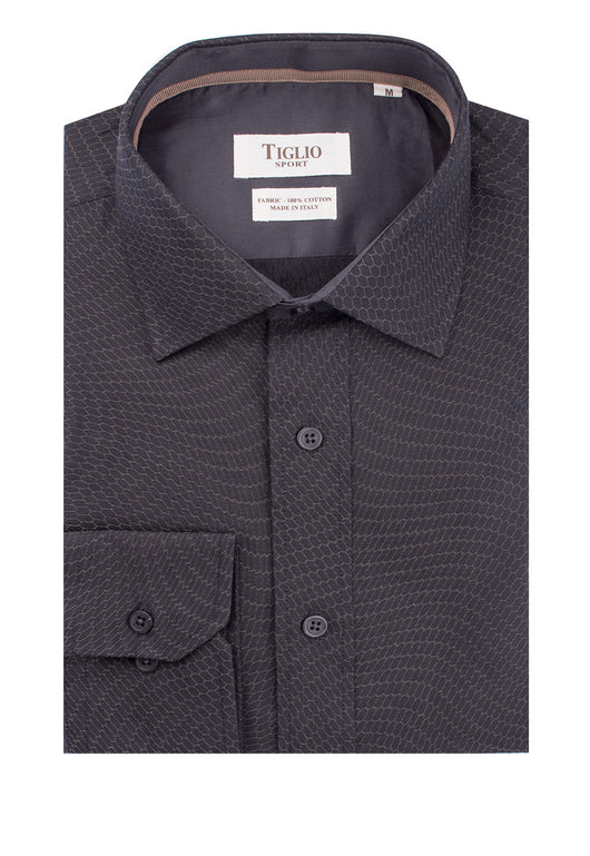 Gray with Tan Honeycomb Pattern Modern Fit Sport Shirt by Tiglio Sport 620/68/S3  Tiglio - Italian Suit Outlet