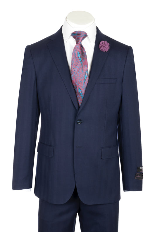 Porto Navy Herringbone design, Slim Fit, Pure Wool Suit by Tiglio Luxe 63021/2  Tiglio - Italian Suit Outlet