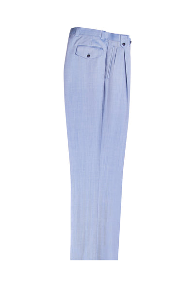 Light Blue Herringbone Wide Leg, Pure Wool Dress Pants by Tiglio Luxe 63021/8  Tiglio - Italian Suit Outlet