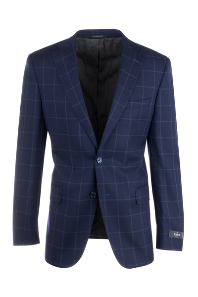 Dolcetto Blue with Lighter Blue Windowpane Modern Fit, Pure Wool Jacket by Canaletto Menswear 66003/2  Canaletto - Italian Suit Outlet