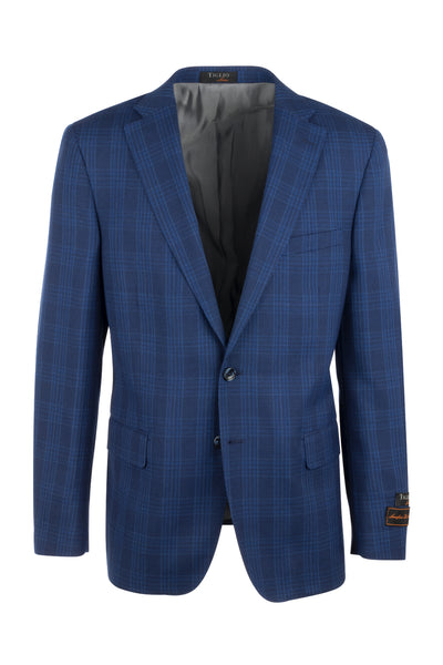 Dolcetto New blue with blue windowpane Modern Fit, Pure Wool Jacket by Tiglio Luxe 68032/7  Tiglio Luxe - Italian Suit Outlet