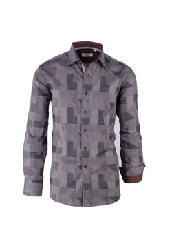 Dark and Light Gray Geometric Pattern Modern Fit Sport Shirt by Tiglio Sport 6X0434/1  Tiglio - Italian Suit Outlet