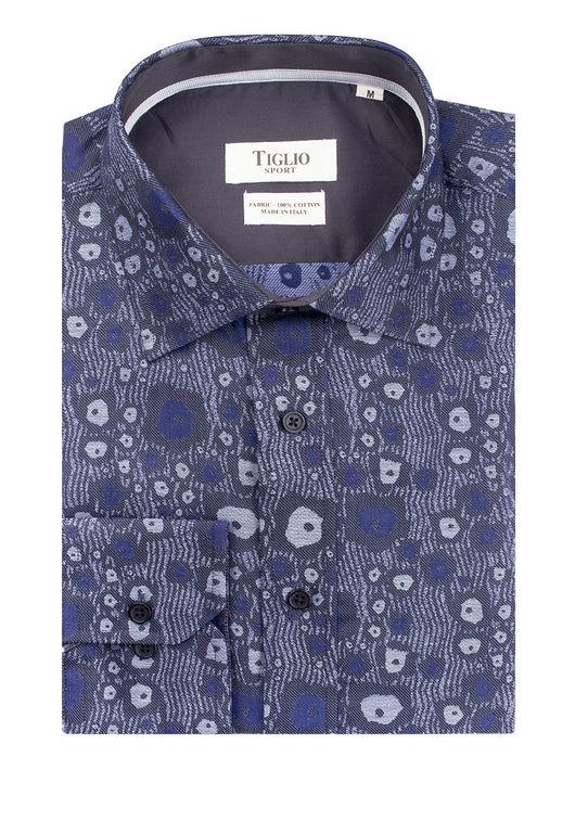 Gray with White and Blue Pattern Modern Fit Sport Shirt by Tiglio Sport 70/157/P4  Tiglio - Italian Suit Outlet