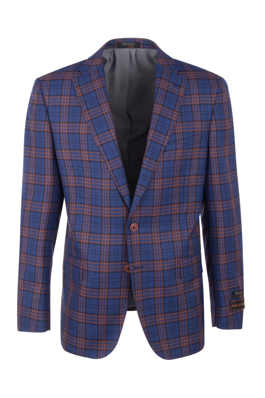 Dolcetto French blue with orange and black windowpane Modern Fit, Pure Wool Jacket by Tiglio Luxe 7223M/302/1  Tiglio Luxe - Italian Suit Outlet