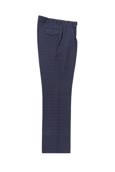 midnight blue with orange and blue windowpane Wide Leg, Pure Wool Dress Pants by Tiglio Luxe 74264/2  Tiglio - Italian Suit Outlet
