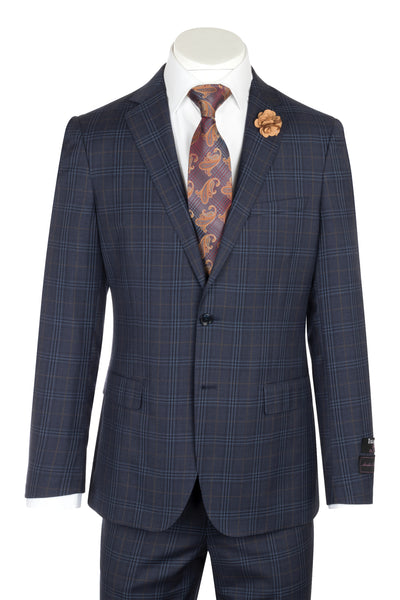 Porto Denim blue with orange and blue windowpane, Slim Fit, Pure Wool Suit by Tiglio Luxe 74264/2  Tiglio - Italian Suit Outlet