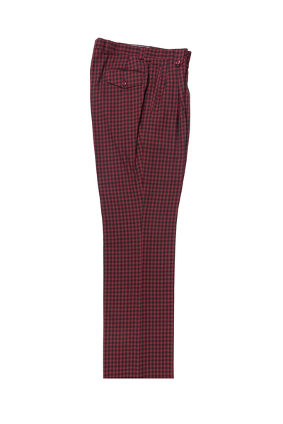 Burnt Red and black checkered Wide Leg, Pure Wool Dress Pants by Tiglio Luxe 74274/11  Tiglio - Italian Suit Outlet