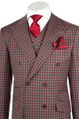 EST Tan, Red and Gray Check Pattern Wide Leg, Pure Wool Suit & Vest by Tiglio Rosso 74274/12  Tiglio - Italian Suit Outlet