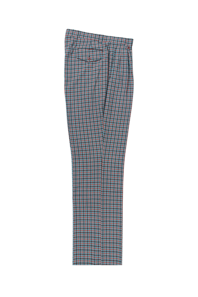 aqua blue with orange and brown checkered Wide Leg, Pure Wool Dress Pants by Tiglio Luxe 7468/1  Tiglio - Italian Suit Outlet