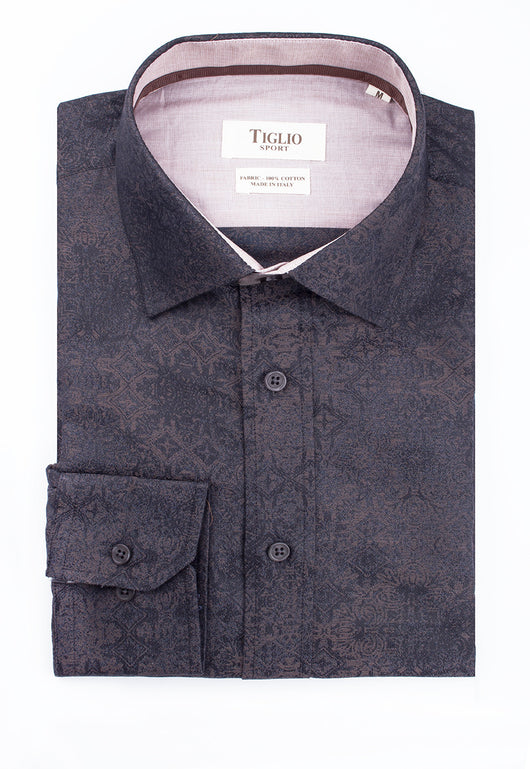 Black with Tan Pattern Modern Fit Sport Shirt by Tiglio Sport 75/183/P4  Tiglio - Italian Suit Outlet