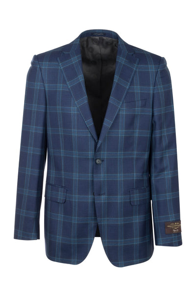 Dolcetto Midnight Blue with Light blue and black windowpane Modern Fit, Pure Wool Jacket by Canaletto CV44.7744/1  Tiglio Luxe - Italian Suit Outlet