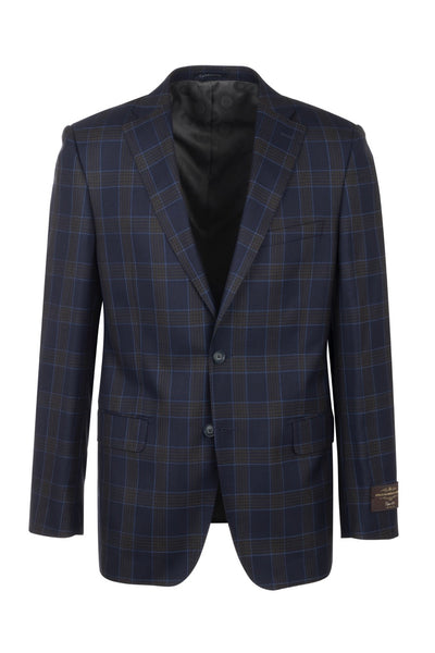 Dolcetto Navy with Light Brown windowpane Modern Fit, Pure Wool Jacket by Canaletto CV44.7756/1  Tiglio Luxe - Italian Suit Outlet