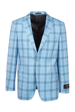 Dolcetto Sky Blue with Navy checkered and windowpane Modern Fit, Pure Wool Jacket by Tiglio Luxe CV44.7761/1  Tiglio Luxe - Italian Suit Outlet
