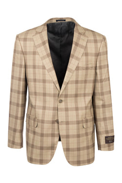 Dolcetto Camel Windowpane Modern Fit, Pure Wool Jacket by Tiglio Luxe CV44.7761/2  Tiglio Luxe - Italian Suit Outlet