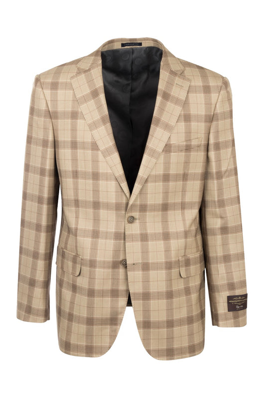 Dolcetto Camel Windowpane Modern Fit, Pure Wool Jacket by Canaletto CV44.7761/2  Tiglio Luxe - Italian Suit Outlet