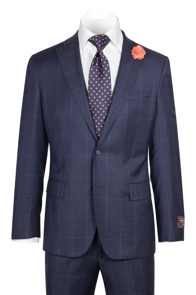 Dolcetto Modern Fit, Navy with Blue windowpane, Pure Wool Suit by VITALE BARBERS CANONICO Cloth by Canaletto Menswear 86.9089/3  Canaletto - Italian Suit Outlet