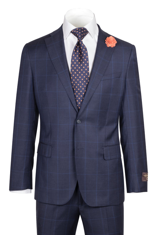Dolcetto Modern Fit, Navy with Blue windowpane, Pure Wool Suit by VITALE BARBERS CANONICO Cloth by Canaletto Menswear 86.9089/3