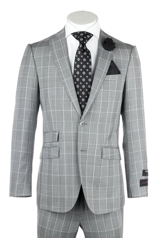 Molina Light Gray with White Windowpane, Slim Fit, Pure Wool Suit by Tiglio Luxe 864127/1  Tiglio - Italian Suit Outlet