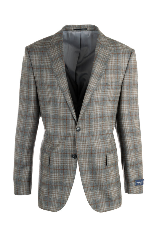 Zegna Ermenegildo Cloth Superfine Wool Gray with Tan and Brown Plaid/Windowpane Como Jacket By Canaletto Menswear 868/2101  Canaletto - Italian Suit Outlet