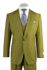 Luca Tea Green Wide Leg, Pure Wool Suit & Vest by Tiglio Rosso 876601/4107  Tiglio - Italian Suit Outlet