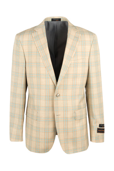 Dolcetto Oatmeal with orange and aqua blue windowpane Modern Fit, Pure Wool Jacket by Tiglio Luxe 8878F/536/1  Tiglio Luxe - Italian Suit Outlet