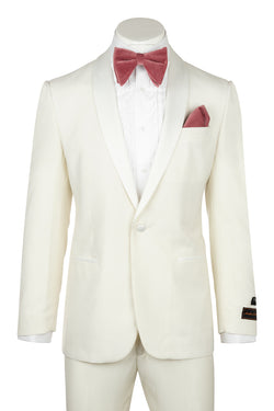 Tiglio Luxe Beckham, Modern Fit, OFF WITHE, Pure Wool Tuxedo OFF WITHE