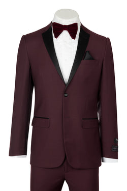 Tiglio Luxe Sienna, Slim Fit, Burgundy, Pure Wool Tuxedo  Tiglio Luxe - Italian Suit Outlet