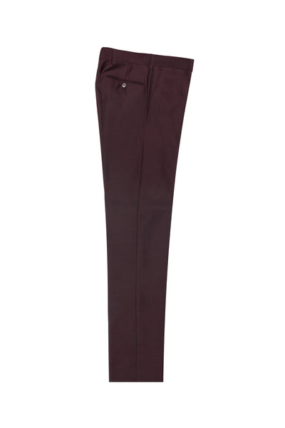 Burgundy Flat Front, Pure Wool Dress Pants by Tiglio Luxe - BURGUNDY  Tiglio - Italian Suit Outlet