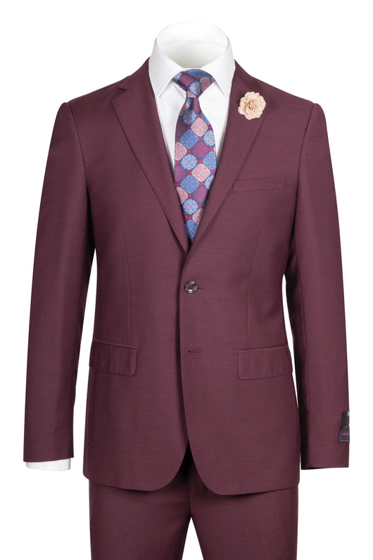 Porto Burgundy, Slim Fit, Pure Wool Suit by Tiglio Luxe - BURGUNDY  Tiglio - Italian Suit Outlet