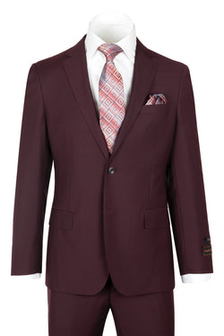 Novello Burgundy Pure Wool Men's Suit by Tiglio Luxe BURGUNDY  Tiglio - Italian Suit Outlet
