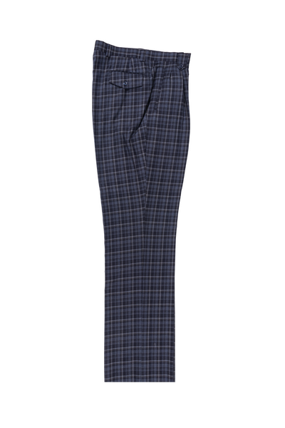 Navy with white and gray windowpane Wide Leg, Pure Wool Dress Pants by Tiglio Luxe CG8803F/509/3  Tiglio - Italian Suit Outlet
