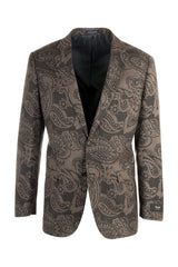 Sangria Elbow Patches Appliqued Brown, Paisley Pattern Wool Jacket by Canaletto Menswear CN1416/1  Canaletto - Italian Suit Outlet