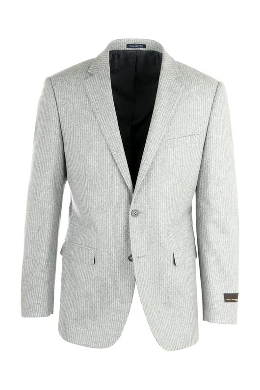 Sangria Elbow Patches Appliqued Light Gray Stripe Flannel Wool Jacket by Canaletto Menswear CN1418/1  Canaletto - Italian Suit Outlet