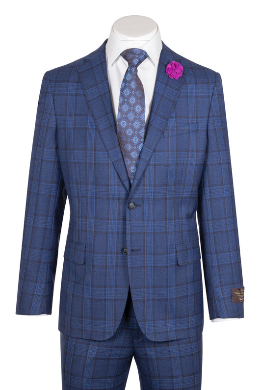 Dolcetto Modern Fit, French blue with dark gray windowpane, Pure Wool Suit by VITALE BARBERS CANONICO Cloth by Canaletto Menswear CN27.824/2  Canaletto - Italian Suit Outlet