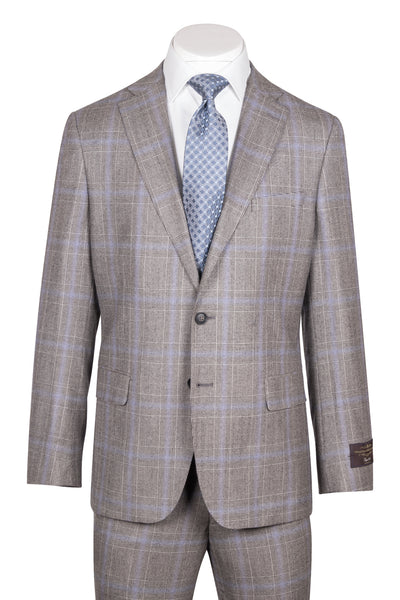 Dolcetto Modern Fit, Gray Houndstooth with purple windowpane, Pure Wool Suit by VITALE BARBERS CANONICO Cloth by Canaletto Menswear CV27.828/1  Canaletto - Italian Suit Outlet