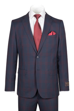 Dolcetto Modern Fit, Dark Navy with Red windowpane, Pure Wool Suit by VITALE BARBERS CANONICO Cloth by Canaletto Menswear CV40.9130/2