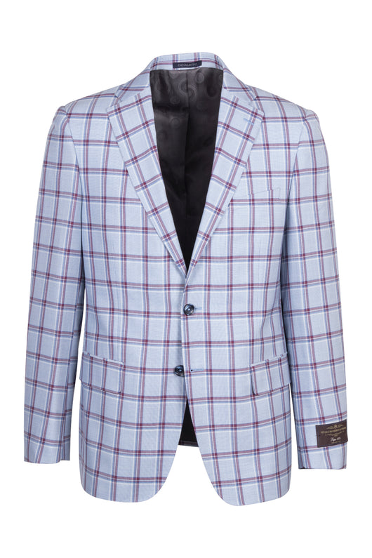 Dolcetto Light Blue with Burgundy and Blue Windowpane Modern Fit, Pure Wool Jacket by VITALE BARBERIS CANONICO Cloth by Canaletto Menswear CN44.9113/1  Canaletto - Italian Suit Outlet