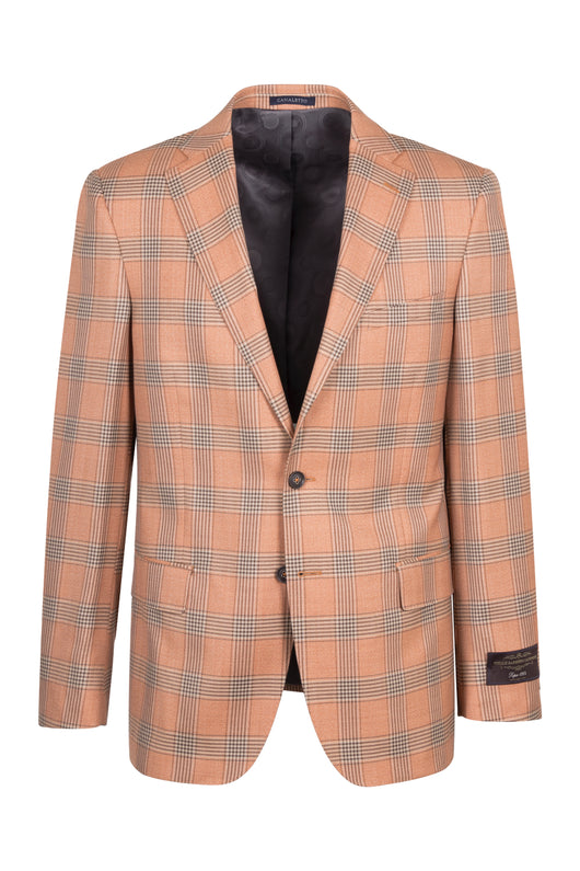 Dolcetto Salmon with brown and black houndstooth windowpane design Modern Fit, Pure Wool Jacket by VITALE BARBERIS CANONICO Cloth by Canaletto Menswear CN44.9116/2  Canaletto - Italian Suit Outlet