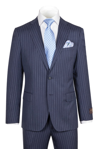 Dolcetto Modern Fit, Navy PIN-DOT Stripe, Pure Wool Suit by VITALE BARBERS CANONICO Cloth by Canaletto Menswear CN95.939/3  Canaletto - Italian Suit Outlet