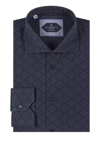 Dark Navy with tone on tone Geometric design Italian Pure Cotton Sport Shirt by Canaletto Menswear CNS102  Canaletto - Italian Suit Outlet