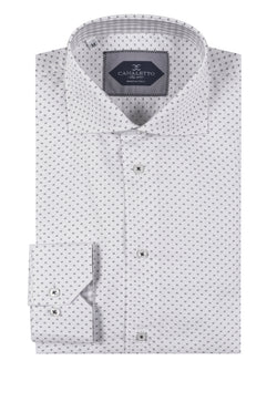 White with small Gray square shape pattern Italian Pure Cotton Sport Shirt by Canaletto Menswear CNS107  Canaletto - Italian Suit Outlet