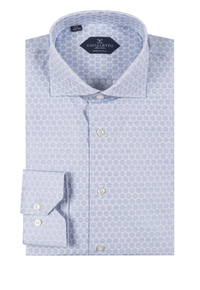 Blue with large tone on tone polka dot shirt Dress Shirt, Regular Cuff, by Canaletto CNS110  Canaletto - Italian Suit Outlet