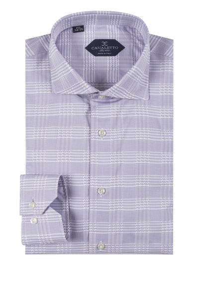 Purple Houndstooth design with white windowpane shirt Dress Shirt, Regular Cuff, by Canaletto CNS114  Canaletto - Italian Suit Outlet