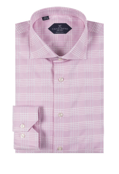 Pink Houndstooth design with white windowpane shirt Dress Shirt, Regular Cuff, by Canaletto CNS115  Canaletto - Italian Suit Outlet