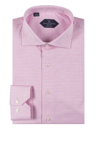 Pink with small white pique pattern shirt Dress Shirt, Regular Cuff, by Canaletto CNS116  Canaletto - Italian Suit Outlet